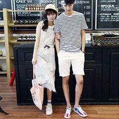 Azure - Couple Matching Striped Short Sleeve T-Shirt / Sleeveless Lace Midi Dress