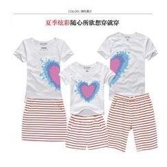 Love Affairs - Set: Heart Print Family  T-Shirt + Shorts / Pencil Skirt (Couple)