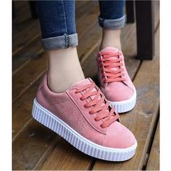 Satomi - Faux Suede Platform Sneakers