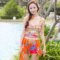 Beach Date - Cross-Strap Patterned Swimsuit