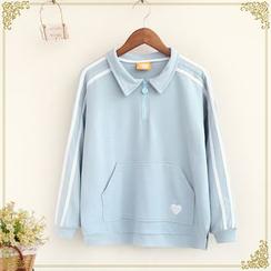 Fairyland - Heart Embroidered Long Sleeve Polo Shirt
