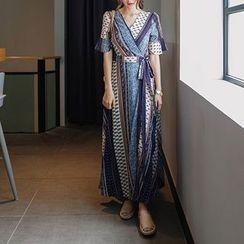 mimi&didi - Elbow-Sleeve Wrap-Front Pattern Maxi Dress