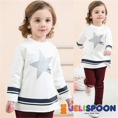 JELISPOON - Kids Contrast-Trim Star Printed T-Shirt