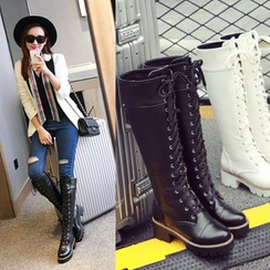 Shoes Galore - Block Heel Lace-Up Tall Boots