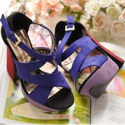 Mancienne - Cross-Strap Color-Block Platform Sandals