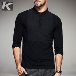 Quincy King - Long-Sleeve Plain Polo Shirt