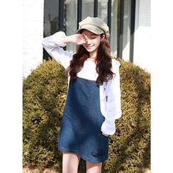 centsshop - Denim Suspender Skirt