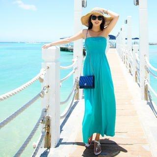 45SEVEN - Smocked Strapless Maxi Dress