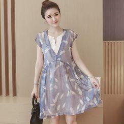 Ceres - Maternity Sleeveless Mock Two Piece Dress