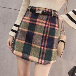 Maine - Plaid A-Line Skirt