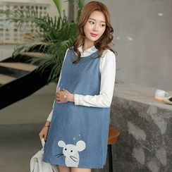 Maiden's Tale - Maternity Set: Long-Sleeve Shirt + Embroidered Denim Pinafore Dress
