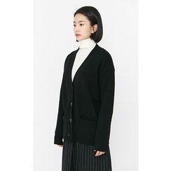 Someday, if - Dual-Pocket Wool Blend Cardigan