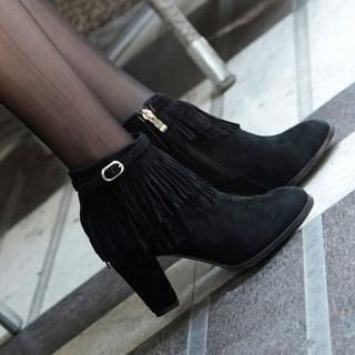 Mancienne - Fringed Buckled Ankle Boots