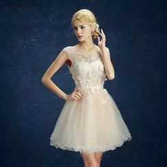 Caramelo - Sleeveless Lace Appliqué Mini Prom Dress