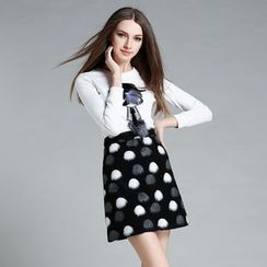 Cherry Dress - Set: Long-Sleeve Embroidered T-Shirt + Dotted Skirt