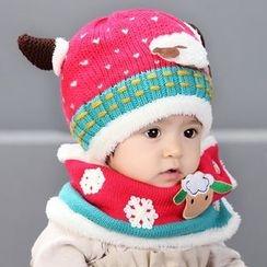 POMME - 嬰兒套裝: 羊皮無邊帽 + 圍巾