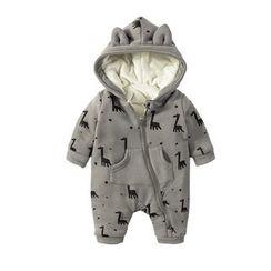 MOM Kiss - Baby Giraffe Print Hooded One-Piece