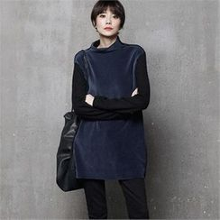HALUMAYBE - Mock-Neck Long Top
