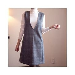 MASoeur - Deep V-Neck Plaid Jumper Dress