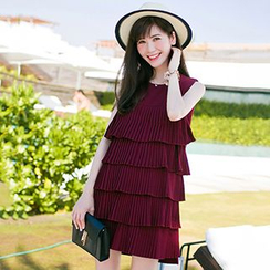 lilygirl - Sleeveless Tiered Pleated Dress