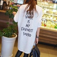 Jolly Club - Lettering Loose-Fit Long T-Shirt