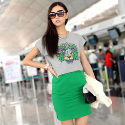 SO Central - Set-Tiger Print T-Shirt + Slit-Side Pencil Skirt