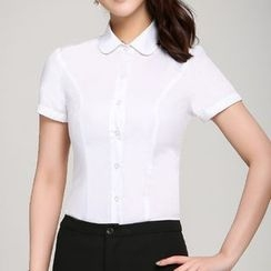 Caroe - Plain Short-Sleeve Blouse