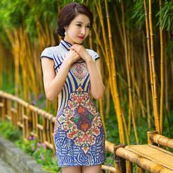 Miss Four Qipao - Cap-Sleeve Print Lace Cheongsam