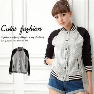 CUTIE FASHION - Color-Block Knit-Panel Baseball Jacket