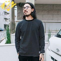 YIDESIMPLE - 条纹长袖厚T恤