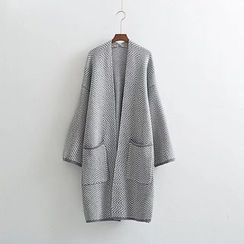 Neeya - Wavy Striped Open Front Long Cardigan