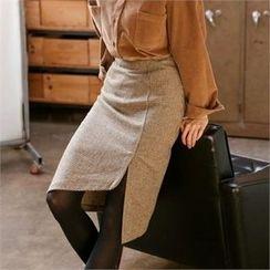 MAGJAY - Asymmetric-Hem Houndstooth Midi Skirt