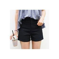 CHERRYKOKO - Zip-Front Cotton Shorts