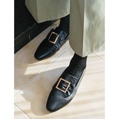 FROMBEGINNING - Buckled Bow Flat Loafers