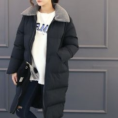 DANI LOVE - Fleece-Collar Padded Long Coat