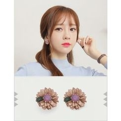 soo n soo - Faux-Leather Flower Stud Earrings