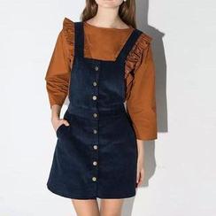 Chicsense - Buttoned Suspender Skirt