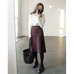 UPTOWNHOLIC - Corduroy A-Line Skirt