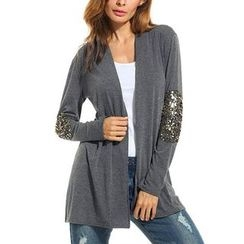 Chika - Sequined Sleeve Long Cardigan