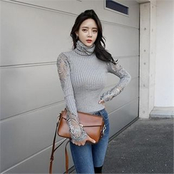 LIPHOP - Crochet-Trim Turtle-Neck Ribbed Knit Top