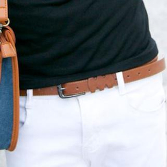 SeventyAge - 質感造型窄版皮帶
