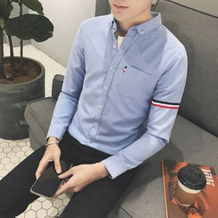 Besto - 條紋貼布繡襯衫