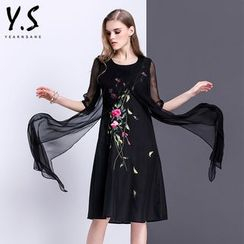 Y:Q - Floral Embroidered Elbow-Sleeve Shift Dress