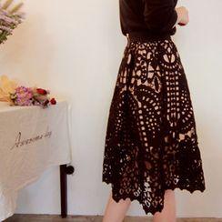 LEELIN - Laced A-Line Midi Skirt