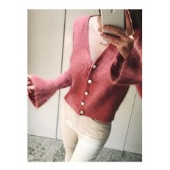 ATTYSTORY - Faux-Pearl Button Wool Blend Cardigan