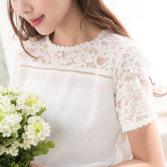 Tokyo Fashion - Lace Panel Short-Sleeve Chiffon Top