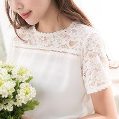 东京著衣 - 蕾丝透肤拼接雪纺上衣