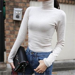 QNIGIRLS - Turtle-Neck Plain Top