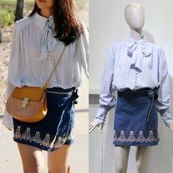 JOYIST - Embroidered Denim Skirt