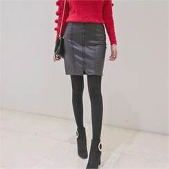 TOM & RABBIT - Zip-Front Faux-Leather Mini Pencil Skirt